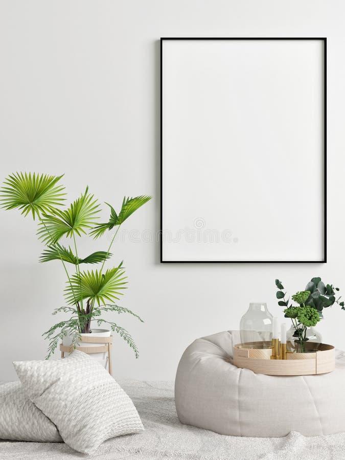 Raillez vers le haut de l'affiche, de la conception intérieure de concept, de la paume et du fauteuil confortable, illustration libre de droits