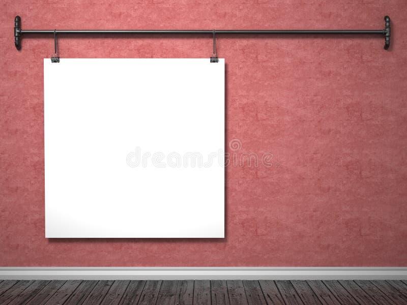 Raillez vers le haut de l'affiche sur le cadre rouge de mur et de tuyau, 3D illustration de vecteur