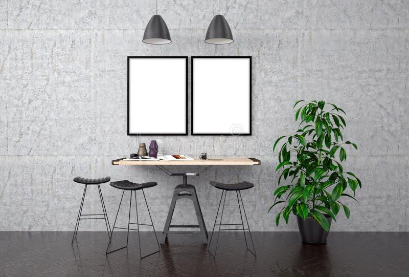 Raillez vers le haut de l'affiche sur le mur en béton, l'illustration 3d illustration libre de droits