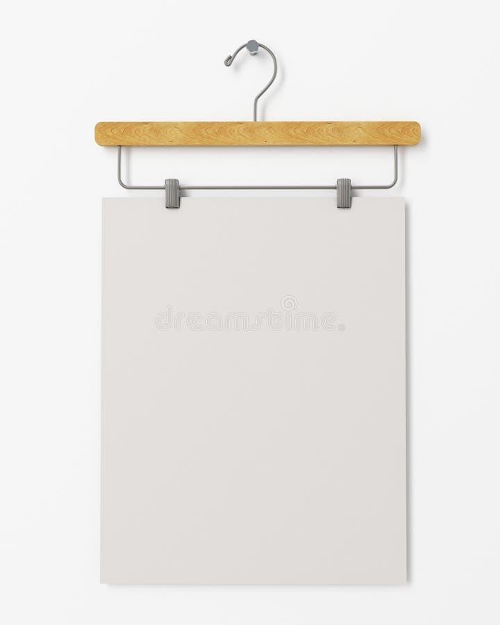 Raillez vers le haut de l'affiche vide sur le cintre accrochant sur le mur blanc, fond illustration de vecteur