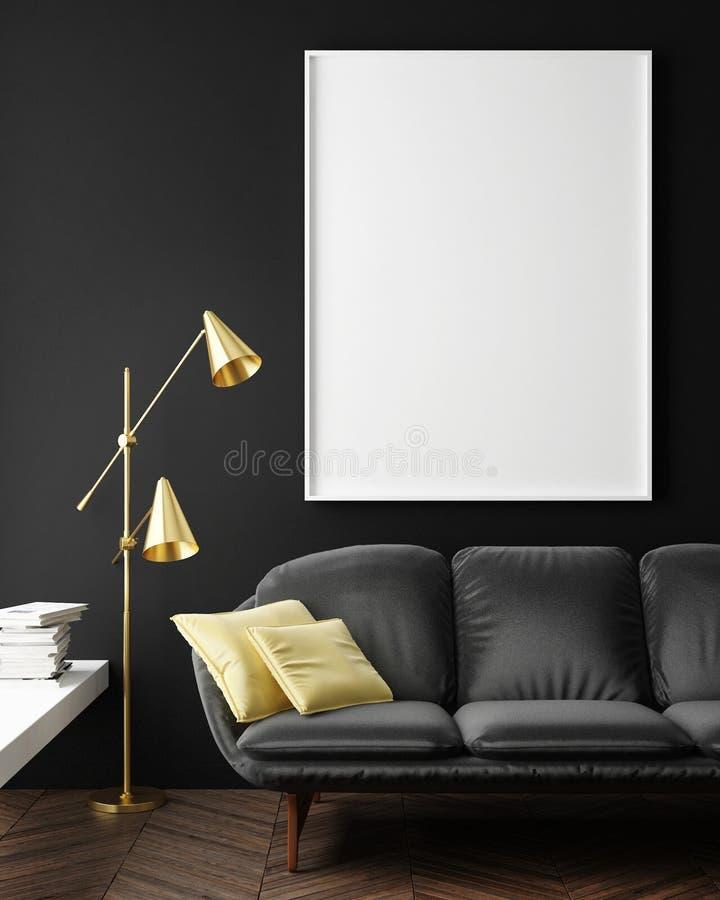 Raillez vers le haut de l'affiche vide sur le mur du salon de hippie, illustration de vecteur