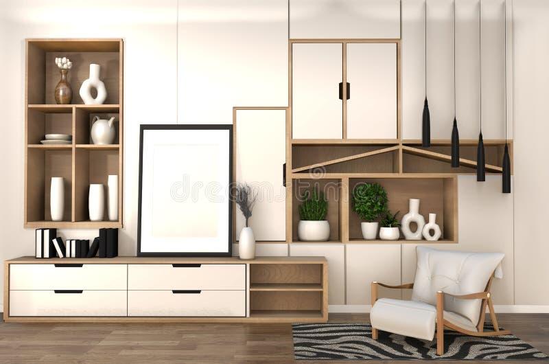 Raillez vers le haut de l'armoire en bois sur le minimaliste de mur d'étagère de pièce et l'intérieur japonais du salon de zen re illustration de vecteur