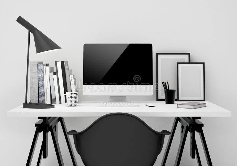 Raillez vers le haut de la moquerie moderne de calibre d'espace de travail vers le haut du fond illustration stock