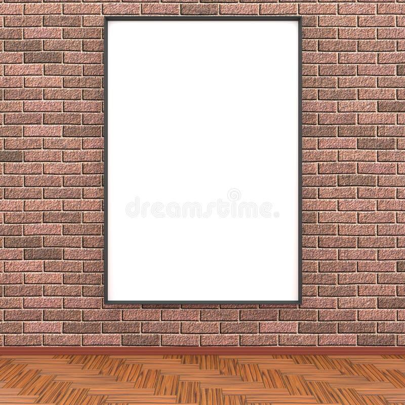 Raillez vers le haut de la pièce, affiche blanche sur le rendu du mur de briques 3D illustration stock