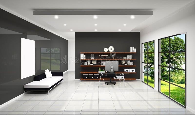 Raillez vers le haut de la pièce de travail avec la pièce de travail de sofa et de décoration, de la conception blanche de tuile  illustration stock