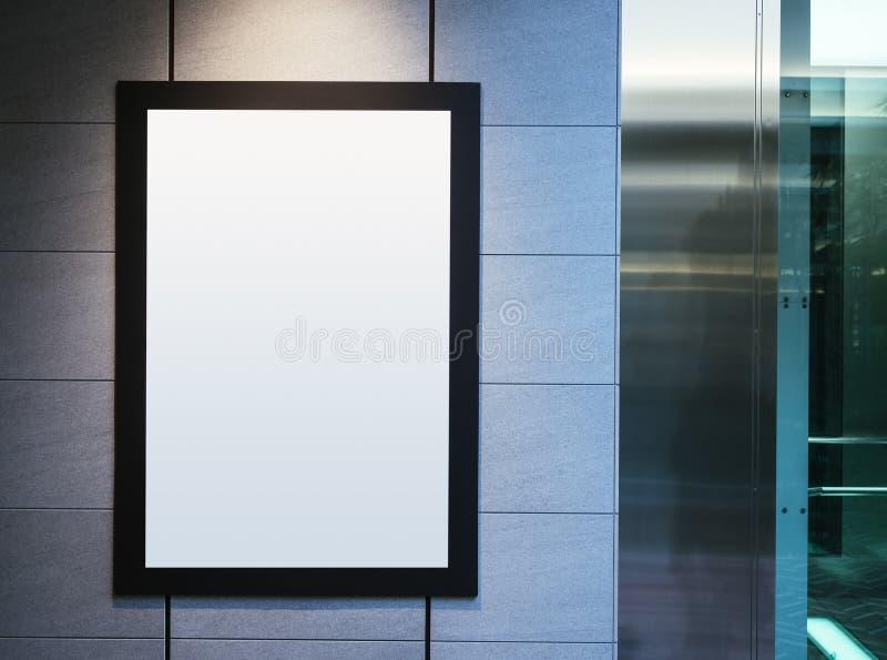 Raillez vers le haut de la vue d'affiche avec le fond d'intérieur de lumière de tache images libres de droits