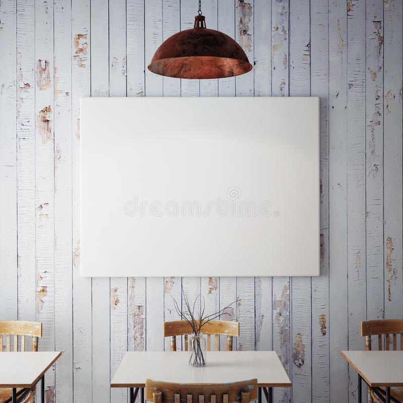 Raillez vers le haut des affiches avec le fond intérieur de rétro de hippie restaurant de café, 3D rendent images stock