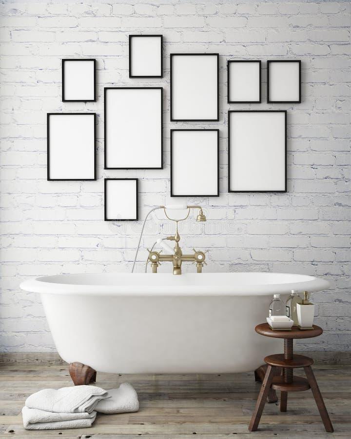 Raillez vers le haut des cadres d'affiche dans la salle de bains de hippie de vintage, fond intérieur, photos stock