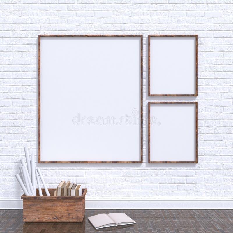 Raillez vers le haut des cadres d'affiches dans l'atelier d'art avec l'arc en bois plein des vieux livres, 3D illustration de vecteur
