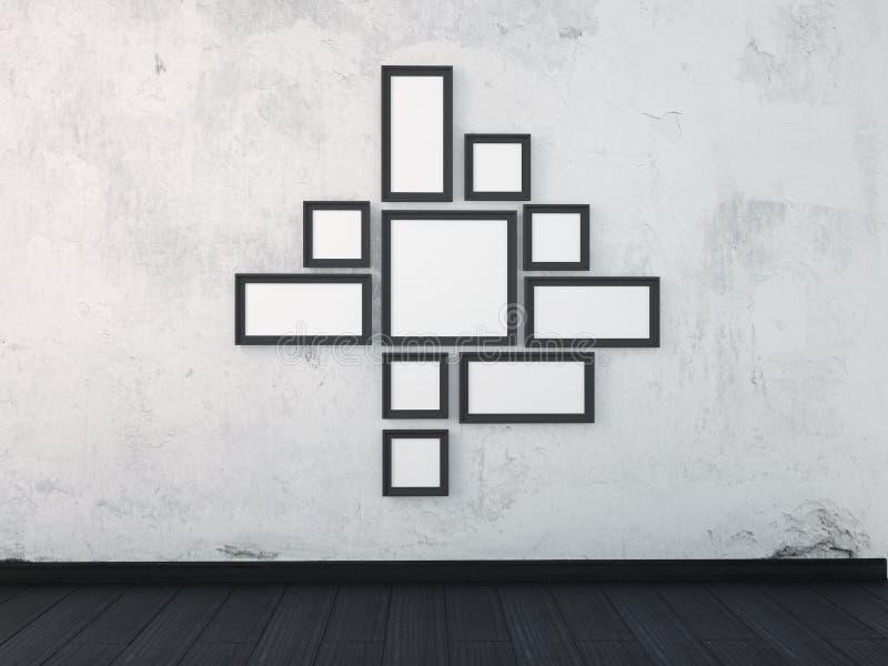 Raillez vers le haut des cadres de noir de cadre sur le mur blanc dans l'intérieur illustration libre de droits