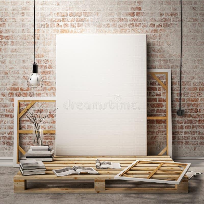 Raillez vers le haut des cadres et de la toile d'affiches à l'arrière-plan d'intérieur de grenier illustration libre de droits