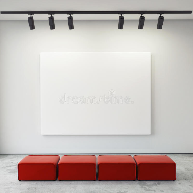 Raillez vers le haut des cadres et de la toile d'affiches à l'arrière-plan intérieur de galerie, photo stock