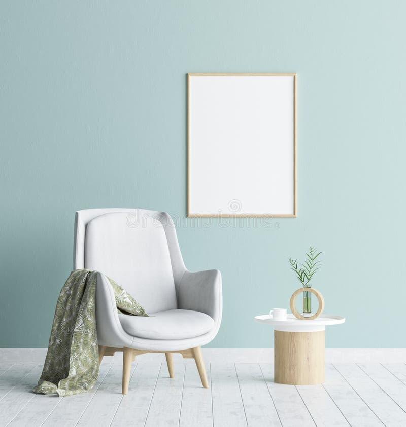 Raillez vers le haut du cadre d'affiche à l'arrière-plan de salon, intérieur scandinave de style illustration libre de droits