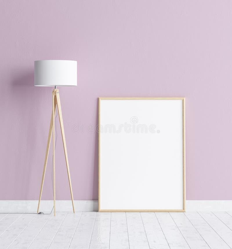 Raillez vers le haut du cadre d'affiche à l'arrière-plan intérieur avec le mur rose, le plancher en bois blanc et le lampadaire illustration libre de droits