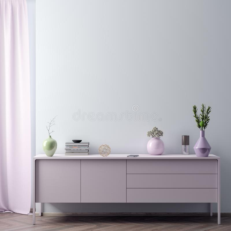 Raillez vers le haut du cadre d'affiche à l'arrière-plan intérieur de hippie dans des couleurs roses, le style scandinave, 3D ren photos libres de droits