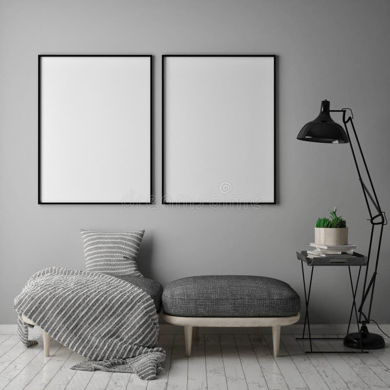 Raillez vers le haut du cadre d'affiche à l'arrière-plan intérieur de hippie, le style scandinave, 3D rendent, illustration de vecteur