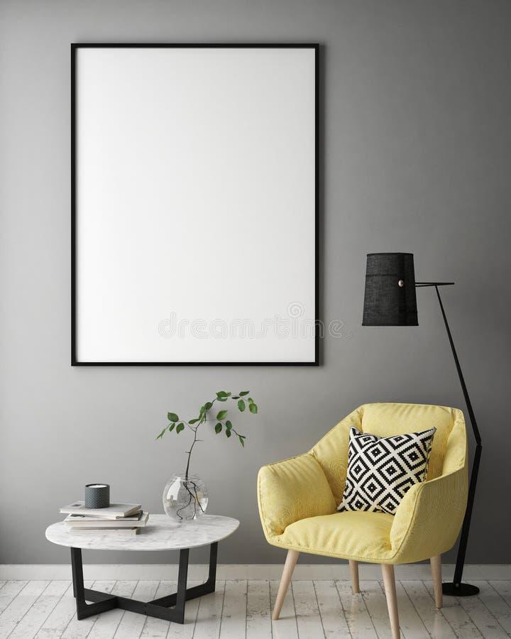 Raillez vers le haut du cadre d'affiche à l'arrière-plan intérieur de hippie, le style scandinave, 3D rendent illustration de vecteur