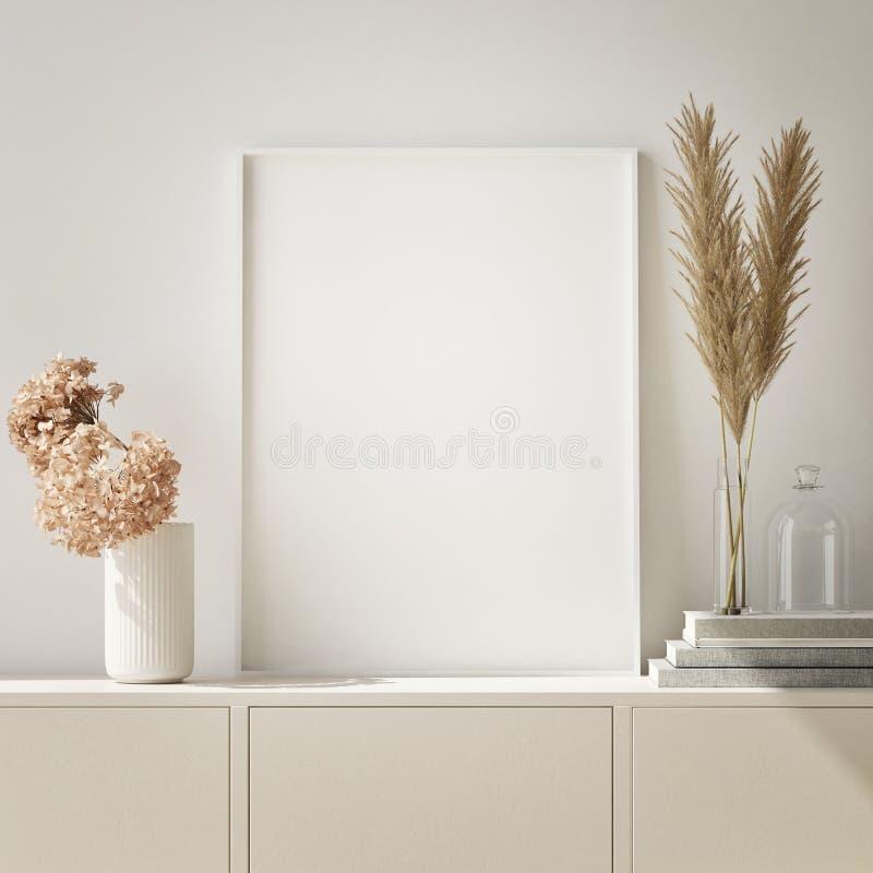 raillez vers le haut du cadre d'affiche à l'arrière-plan intérieur de hippie, salon, le style scandinave, 3D rendent, l'illustrat illustration libre de droits