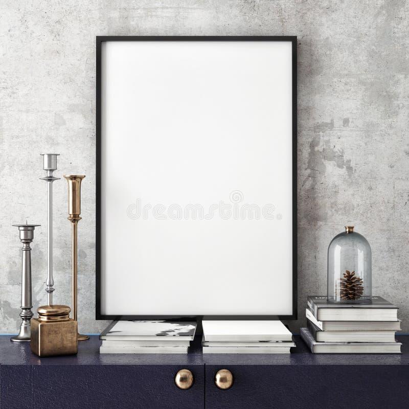 Raillez vers le haut du cadre d'affiche avec sur le rétro coffre des tiroirs, fond intérieur de hippie,