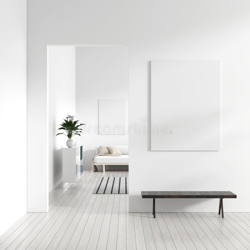 Raillez vers le haut du cadre d'affiche dans l'intérieur scandinave de hippie de style Intérieur moderne blanc de salon moderne i illustration stock