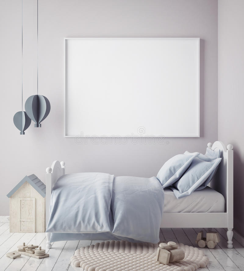 Raillez vers le haut du cadre d'affiche dans la chambre de bébé garçon, fond scandinave d'intérieur de style illustration libre de droits