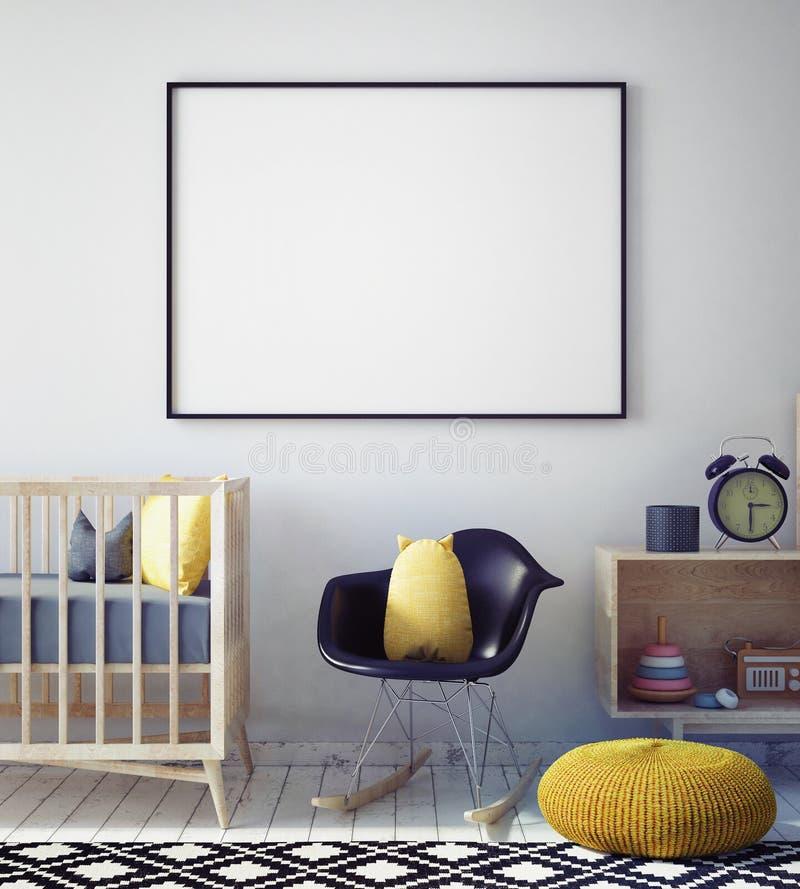 Raillez vers le haut du cadre d'affiche dans la chambre de hippie, fond intérieur de style scandinave, illustration stock