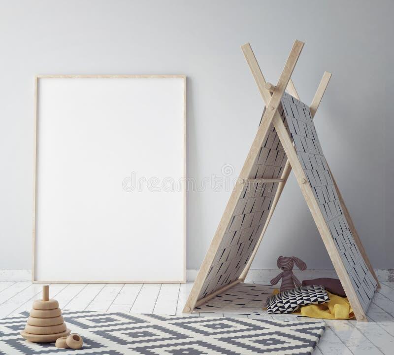 Raillez vers le haut du cadre d'affiche dans la chambre de hippie, le fond intérieur de style scandinave, 3D rendent illustration libre de droits