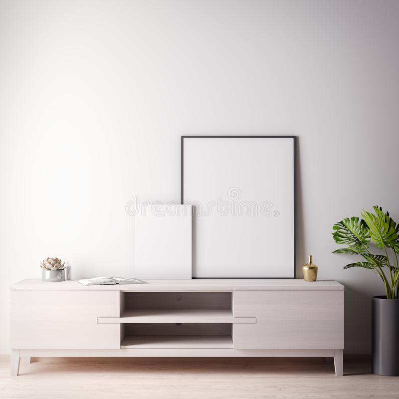 Raillez vers le haut du cadre d'affiche dans la chambre intérieure avec le style wal et moderne blanc, l'illustration 3D illustration de vecteur