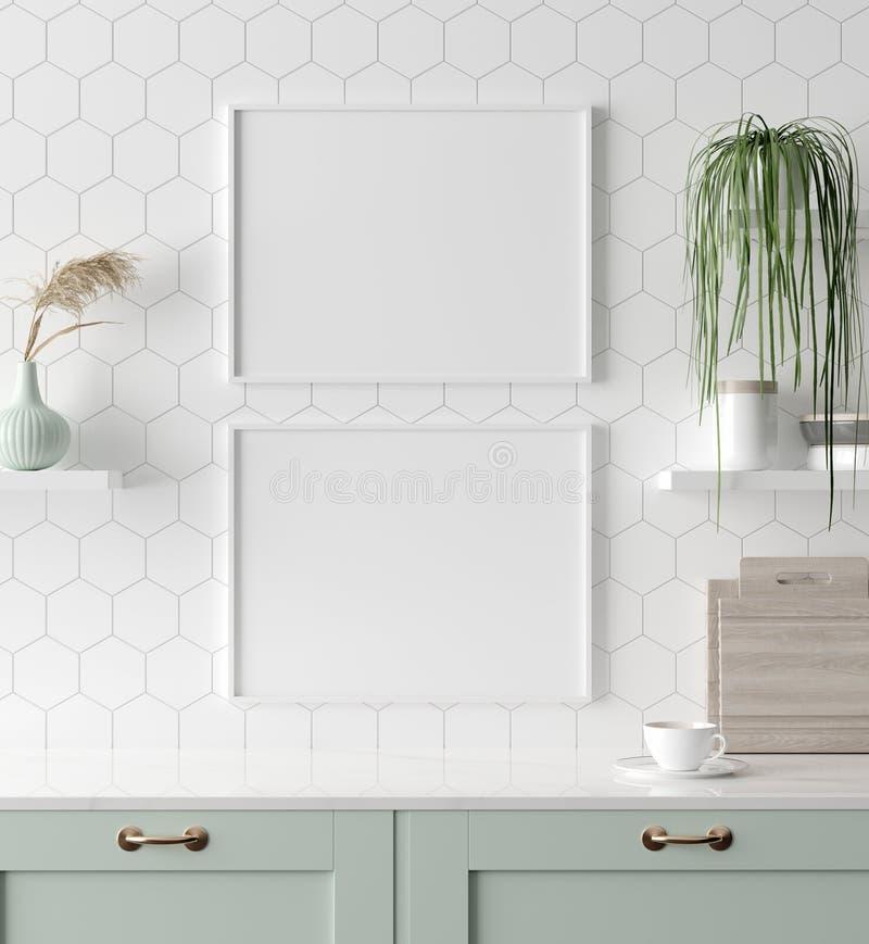 Raillez vers le haut du cadre d'affiche dans la cuisine int?rieure, style scandinave photo stock