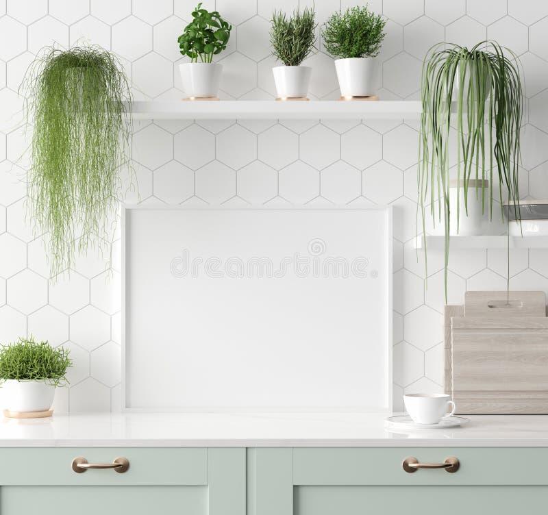 Raillez vers le haut du cadre d'affiche dans la cuisine int?rieure, style scandinave photo libre de droits