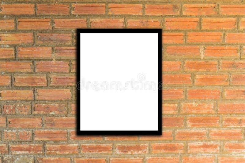 Raillez vers le haut du cadre d'affiche et le hippie ou le vintage de mur de briques images stock