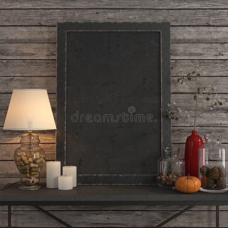 Raillez vers le haut du cadre d'affiche sur la table en métal photos libres de droits