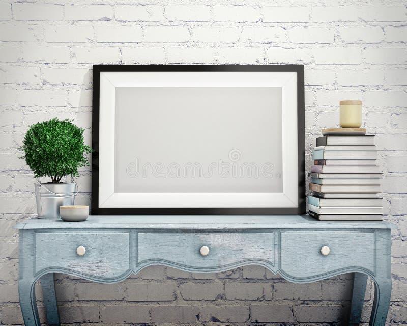 Raillez vers le haut du cadre d'affiche sur le coffre de vintage des tiroirs, intérieur illustration de vecteur