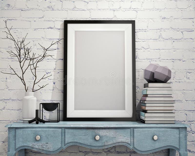Raillez vers le haut du cadre d'affiche sur le coffre de vintage des tiroirs, intérieur illustration libre de droits