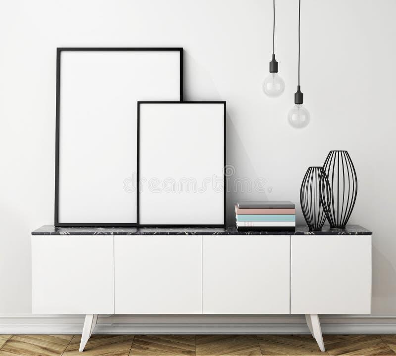 Raillez vers le haut du cadre d'affiche sur le coffre des tiroirs, intérieur illustration stock