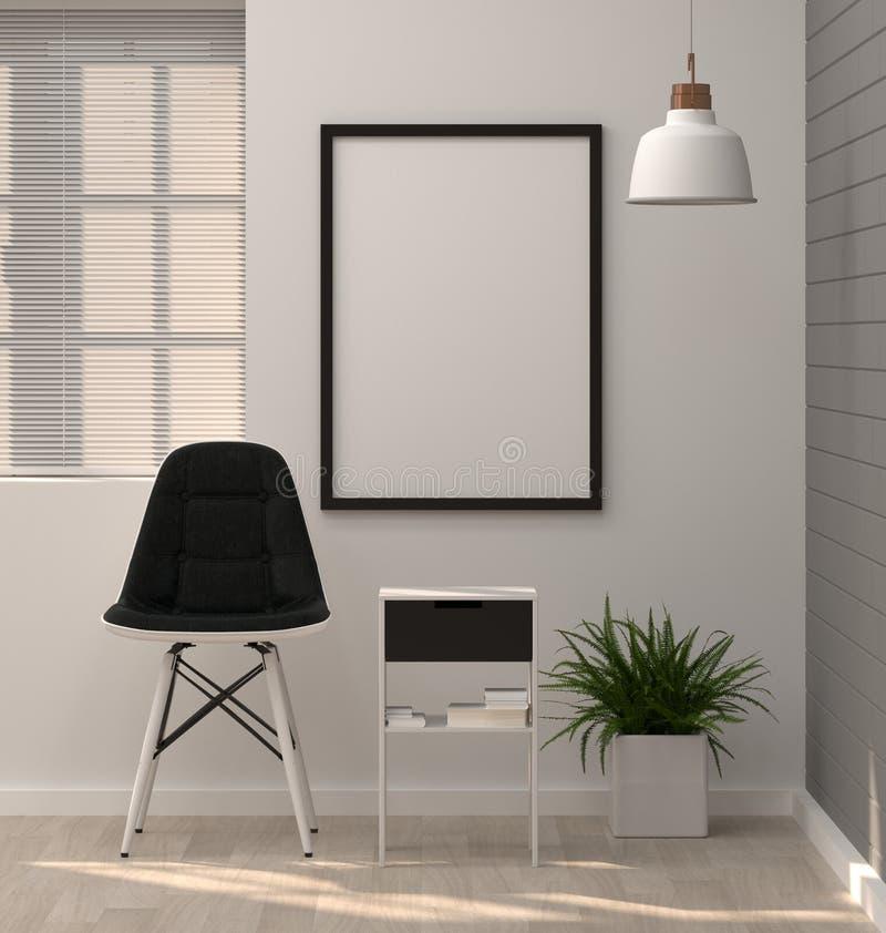 Raillez vers le haut du cadre d'affiches dans la chaise moderne a de rendu du salon 3D illustration libre de droits