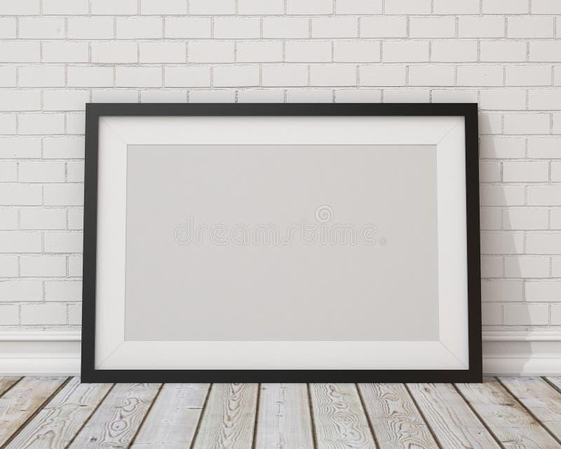 Raillez vers le haut du cadre de tableau horizontal noir vide sur le mur en béton blanc et le plancher de vintage photographie stock libre de droits