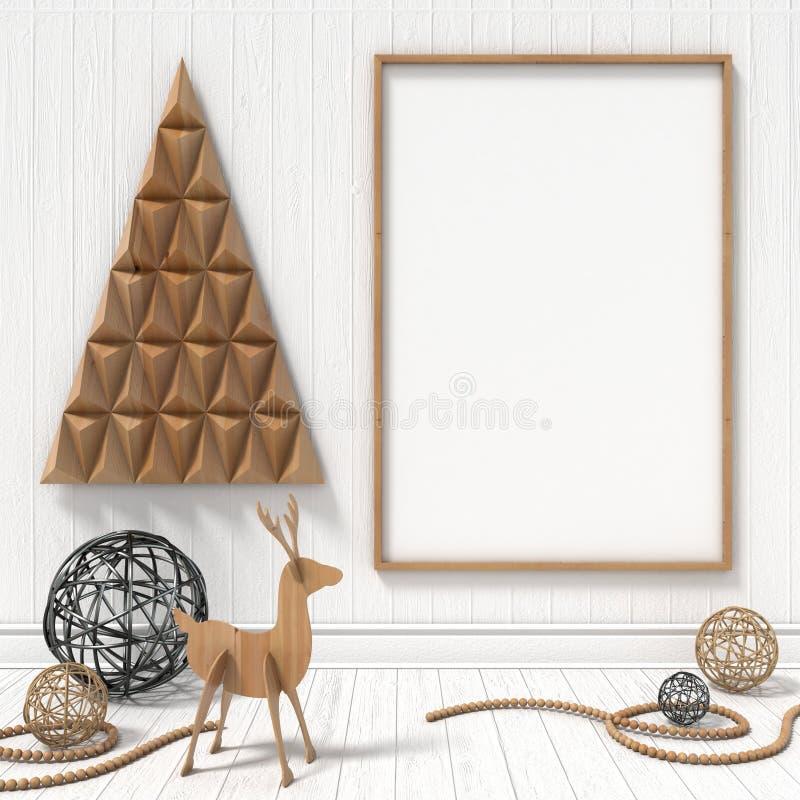 Raillez vers le haut du cadre de tableau vide, décoration de Noël 3d rendent illustration libre de droits