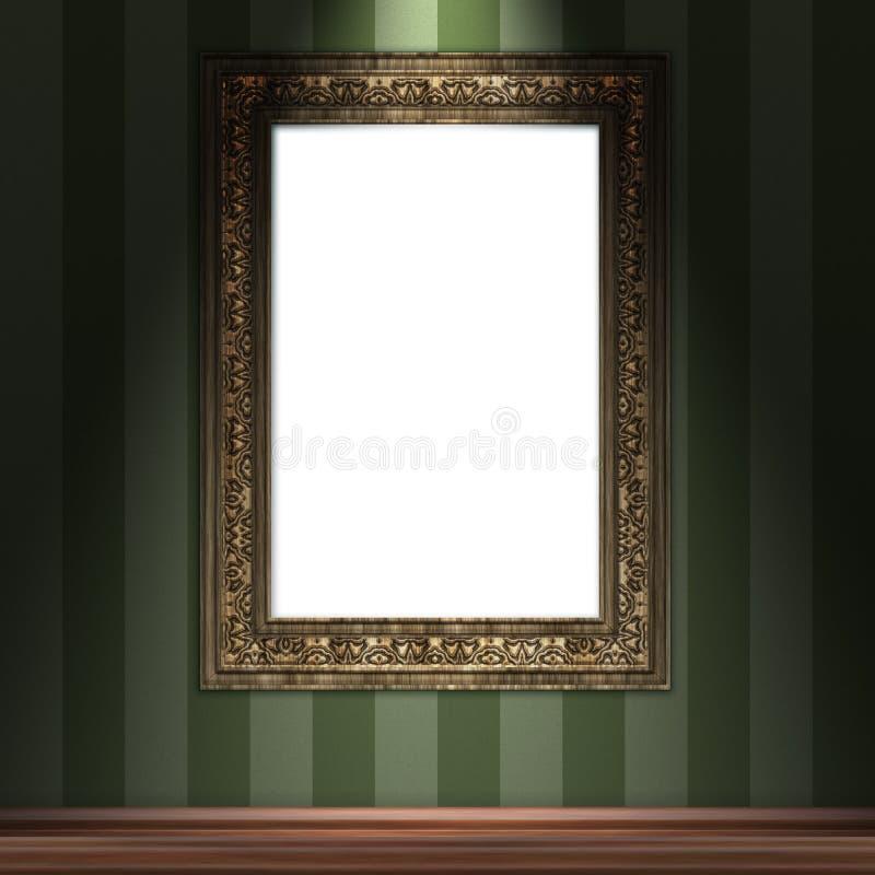 Raillez vers le haut du cadre du vintage 3d accrochant sur le mur illustration stock