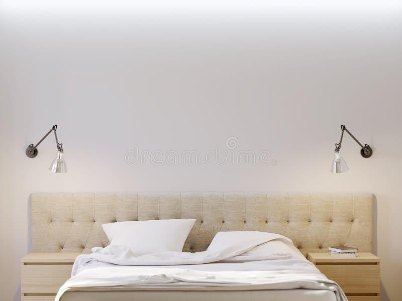 Raillez vers le haut du mur blanc pour l'intérieur de chambre à coucher d'affiche illustration stock
