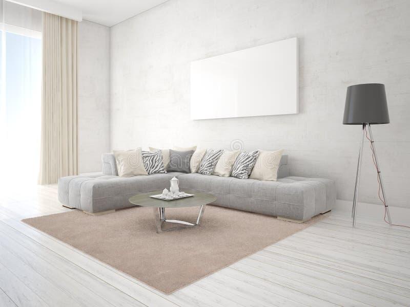 Raillez vers le haut du salon avec un sofa faisant le coin exclusif illustration libre de droits