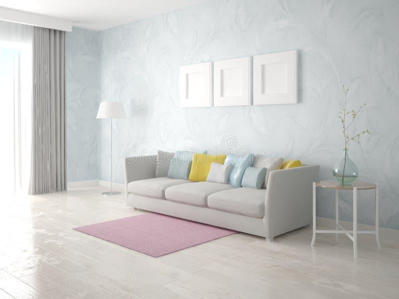 Raillez vers le haut du salon lumineux avec le sofa léger élégant illustration libre de droits