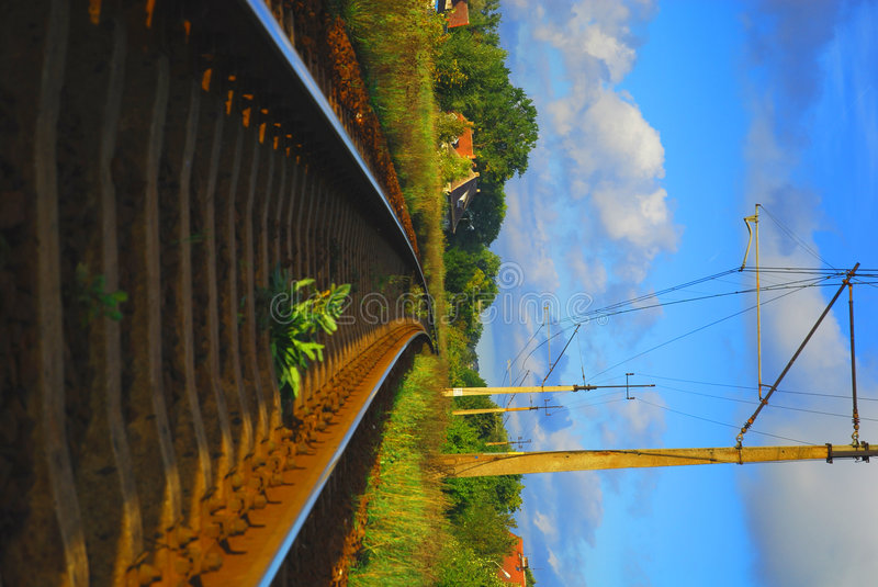 Railroad. A rail track on the countryside royalty free stock photo