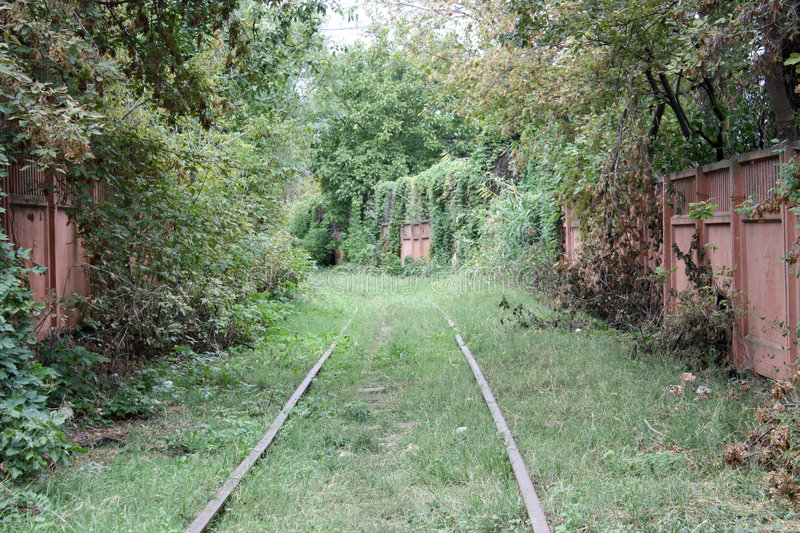 Railroad. Forgotten railroad somewhere in the middle of the city stock image
