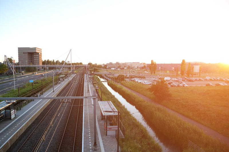 Railroad on the background of the evening sky. City background. Railroad on the background of the evening sky royalty free stock photo