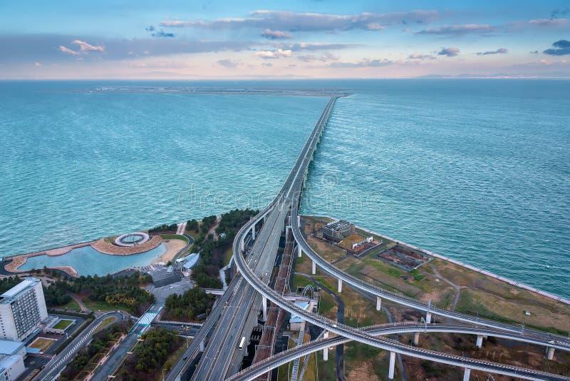 Railroad bridge connected to Kansai international airport stock image