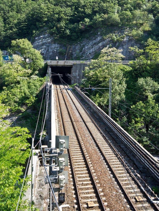 Download Railroad bridge and tunel stock photo. Image of passenger - 25094162