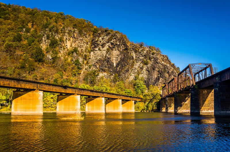 Railroad bridges over the Potomac River and Maryland Heights in stock images