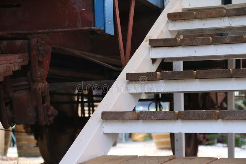 A railroad car and stairs stock photography