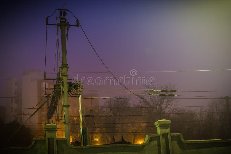Railroad chain in the night stock image